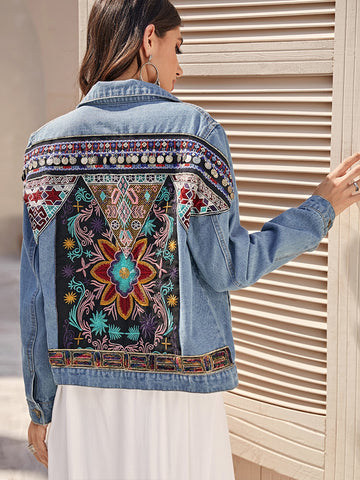 Tribal Embroidery Ripped Denim Trucker Jacket
