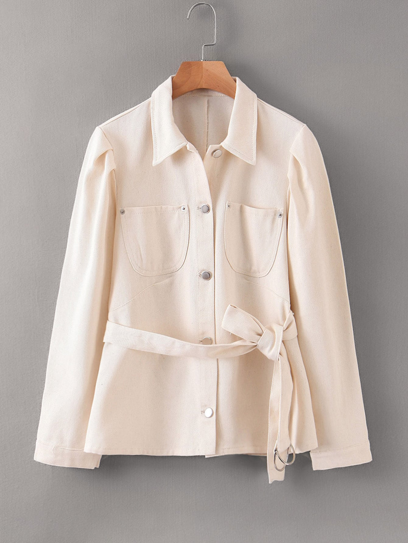 Button Front Double Pocket Belted Coat