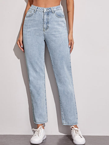 Button Fly Straight Leg Jeans