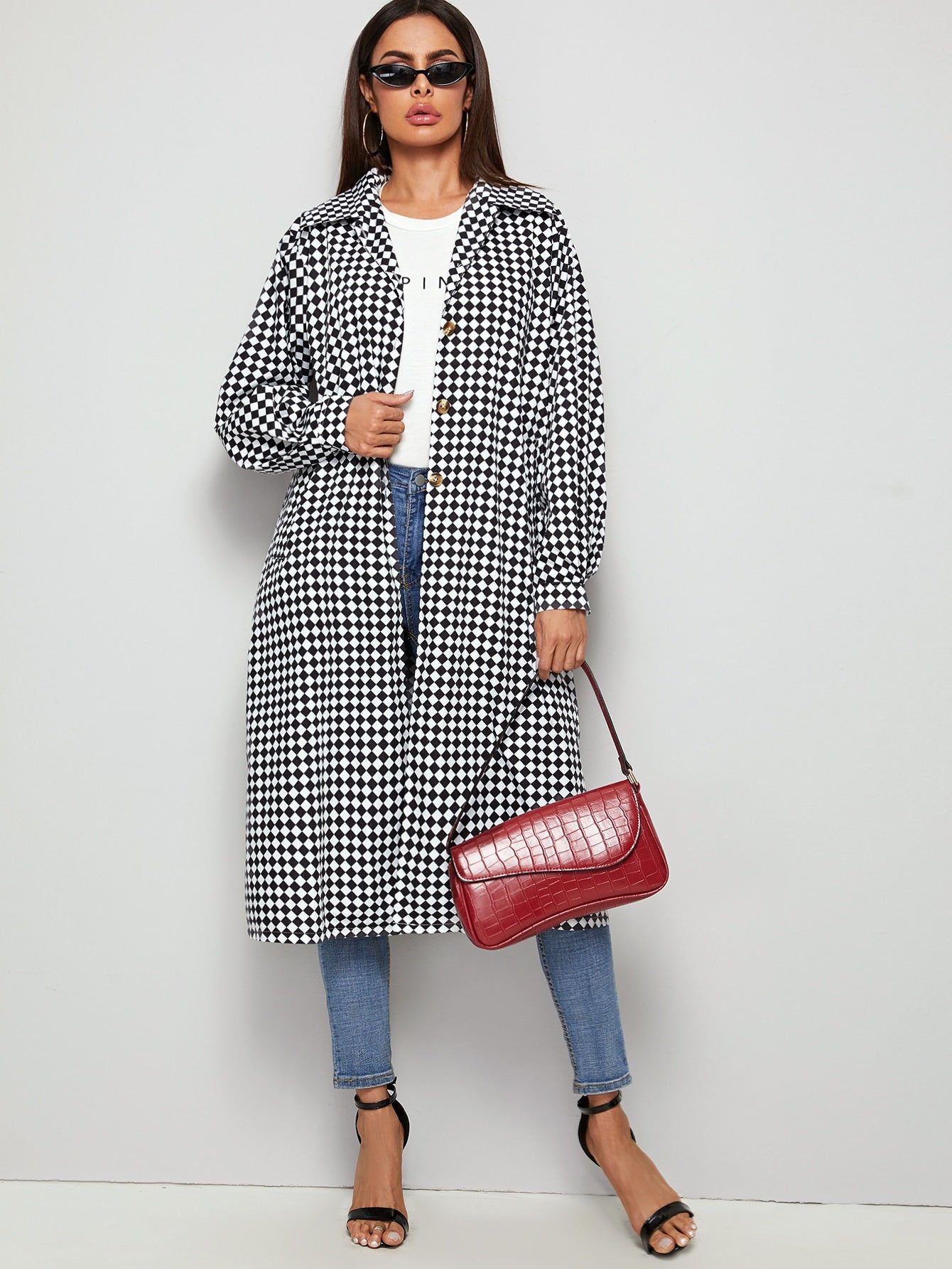 Argyle Print Button Through Longline Coat