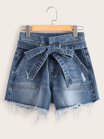 Bleached Wash Raw Hem Belted Denim Shorts