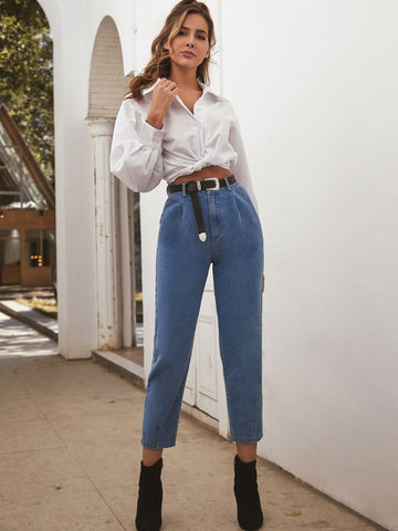 Solid Pocket Side Belted Mom Jeans