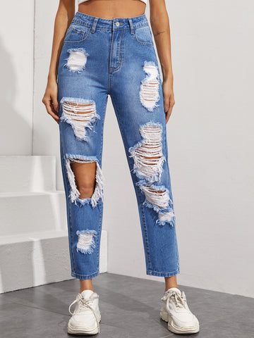 Ripped Straight Leg Jeans Without Bag