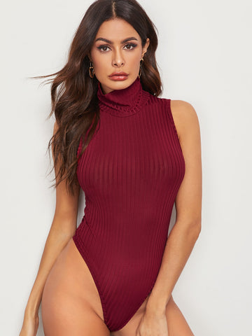 Solid High Neck Ribbed Bodysuit