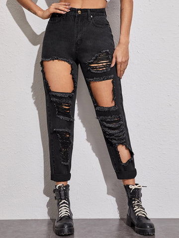 Destroyed Ripped High Rise Solid Jeans