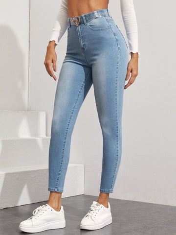 Light Wash Skinny Jeans Without Belt