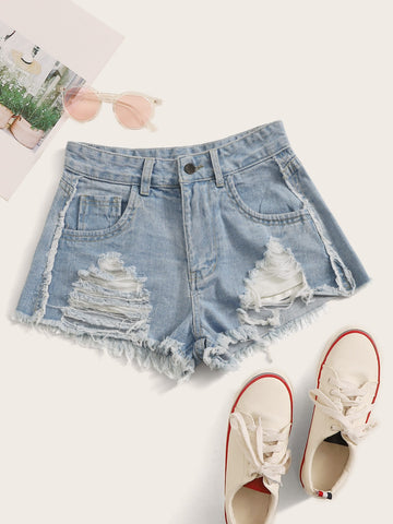 Ladder Distressed Raw Hem Denim Shorts