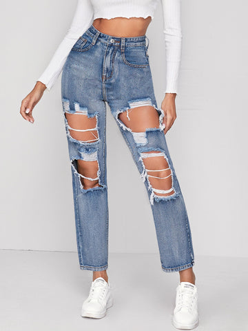 Ripped Slant Pocket Button Fly Jeans