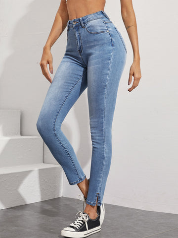 Light Wash Slit Hem Skinny Jeans