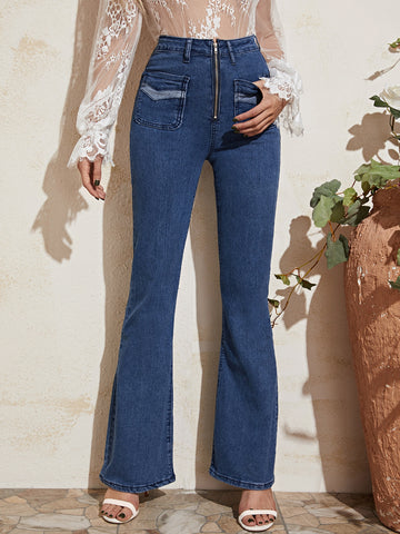 High Waist Zip Fly Flare Leg Jeans