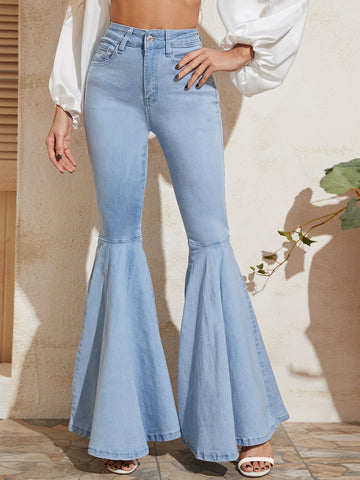 Light Wash Exaggerated Flare Leg Jeans