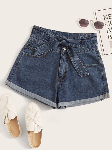 Solid Roll Hem Self Tie Denim Shorts
