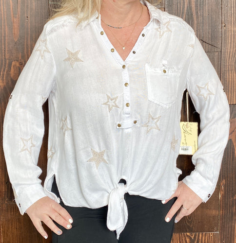 WHITE EMBROIDERED STAR SHIRT