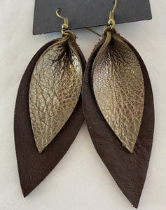 Layered Leaves (Small) Leather Earrings