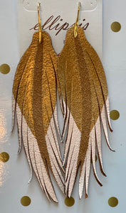 SHORT FEATHER EARRINGS Gold/Pale Pink