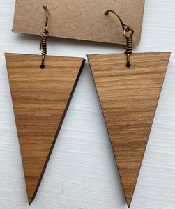 Triangle Wood Earrings