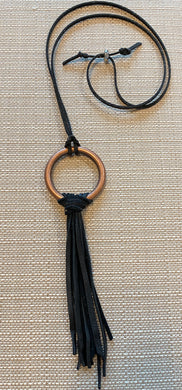 Circle Knot Leather Bronze Necklace