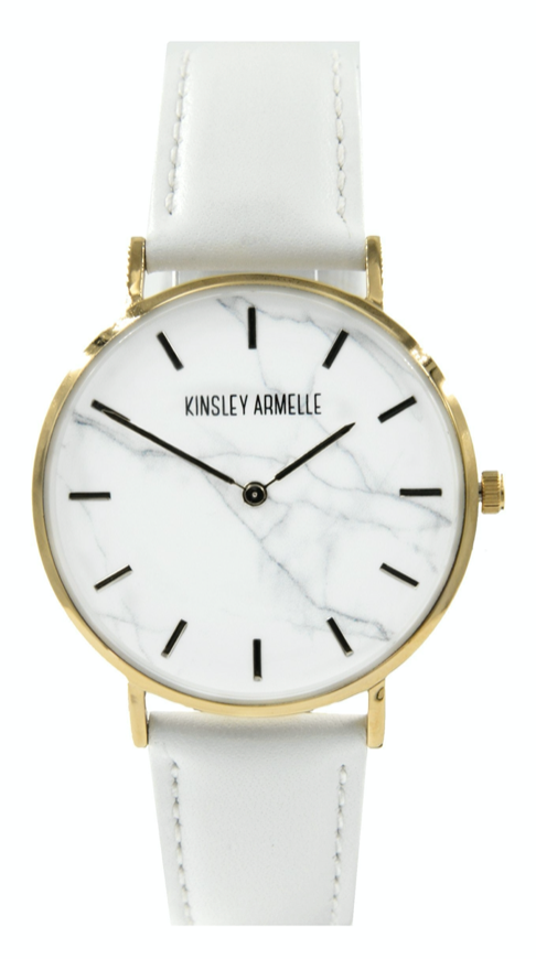 MARBLE WHITE LEATHER WATCH