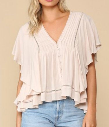 BLUSH CRINKLE TOP