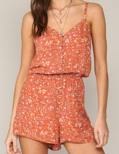 RUST BUTTON DOWN ROMPER