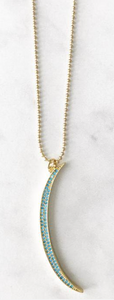PAVE TURQUOISE CRESCENT NECKLACE