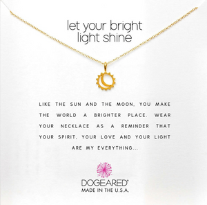 LET YOUR BRIGHT LIGHT SHINE NECKLACE IN GOLD DIPPED