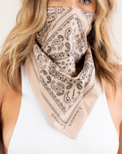 Load image into Gallery viewer, TAUPE PAISLEY BANDANA FACE SCARF