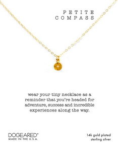 PETITE COMPASS NECKLACE, GOLD DIPPED