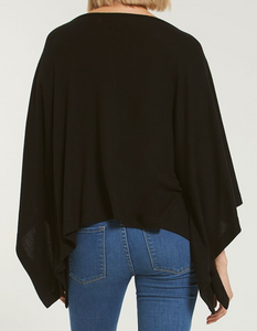 RUBY MARLED PONCHO IN BLACK