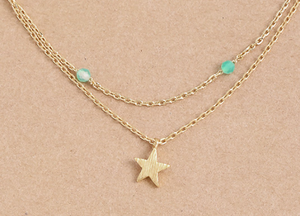 Dainty Layered Star Bead Necklace