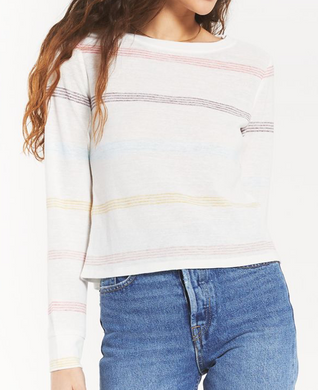 Aspen Stripe L/S Crew Top