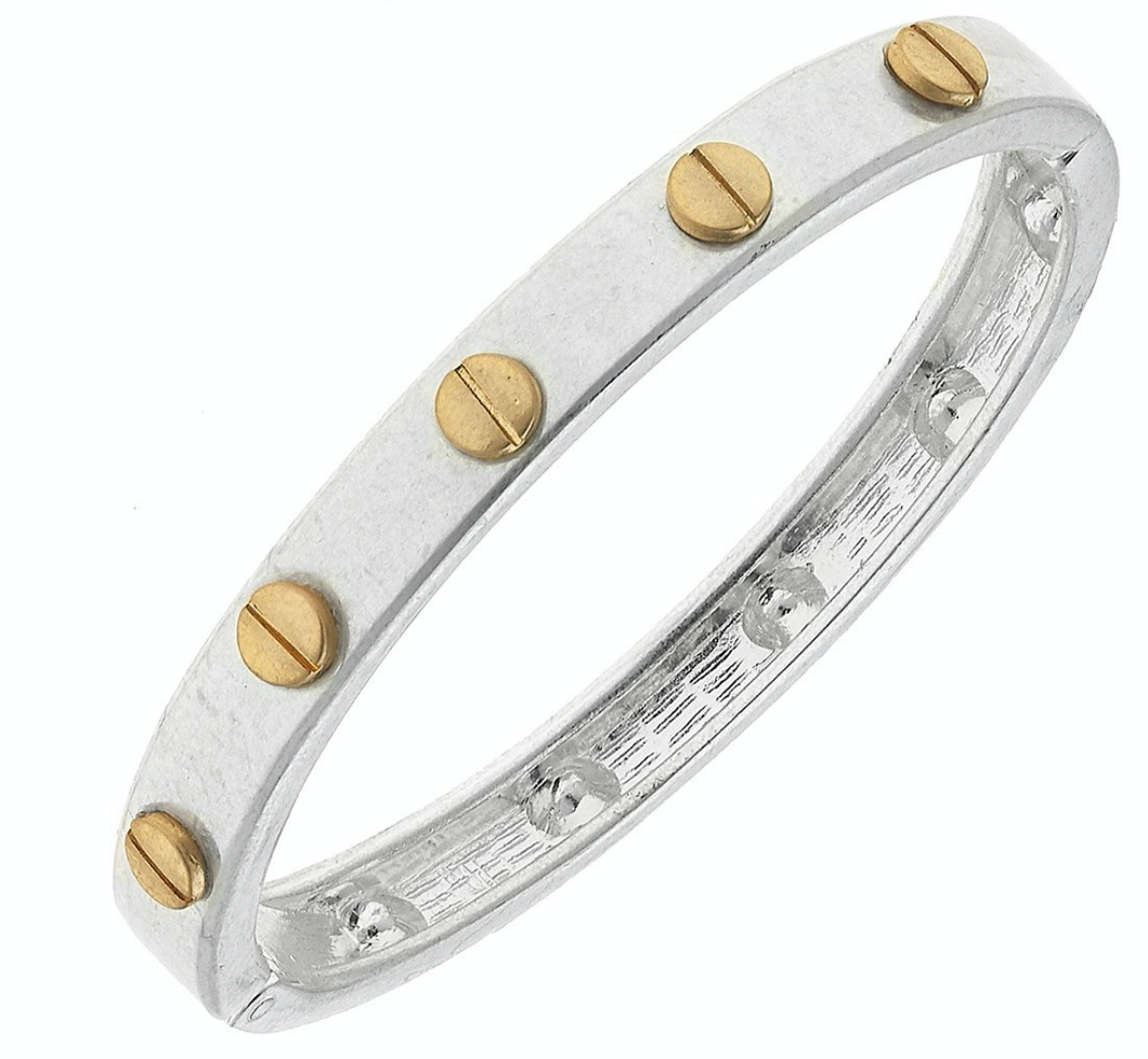 Ella Hardware Hinge Bangle in Worn Silver