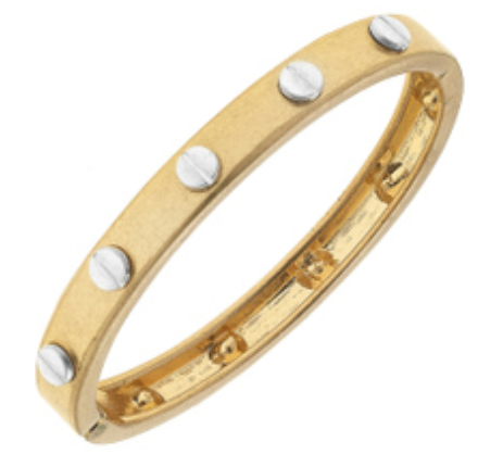 Ella Hardware Hinge Bangle in Worn Gold
