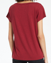 Load image into Gallery viewer, Jane Brushed Slub Tee in Cabernet