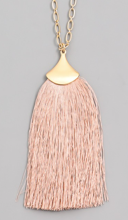 Large Tassel Necklace in Blush