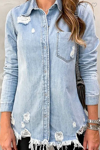 Distressed Denim Shirt/Jacket