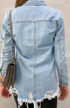 Load image into Gallery viewer, Distressed Denim Shirt/Jacket
