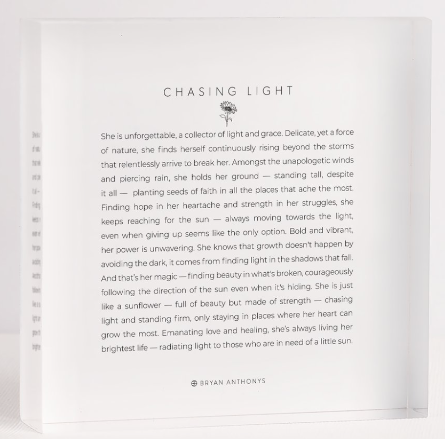 Chasing Light - Mini Mantra Block