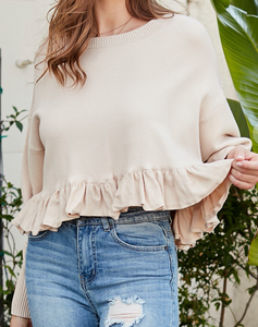 Cream Ruffle Sweater