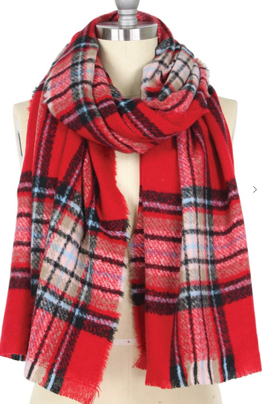 Plaid Checked Oblong Scarf