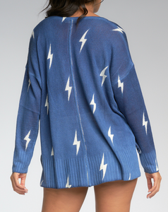 Blue & White Lightning Bolt Sweater