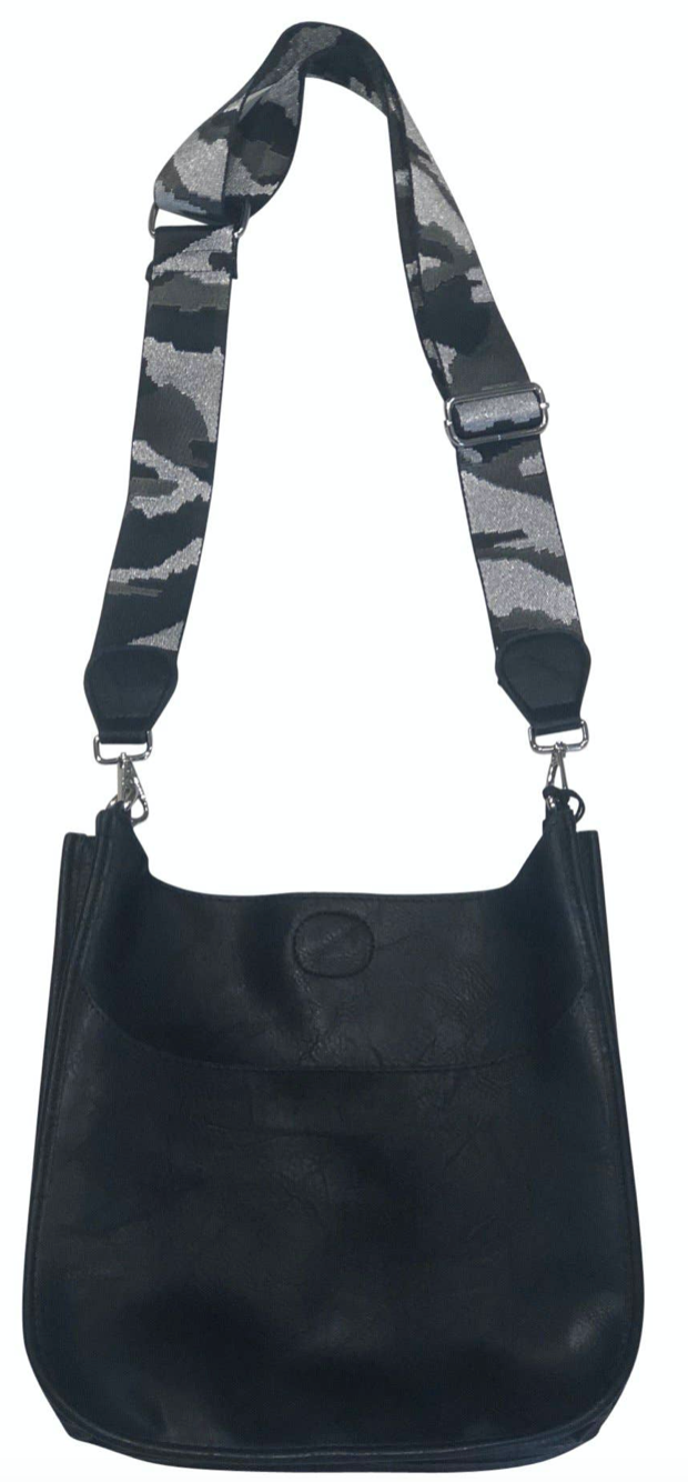 Black Vegan Messenger Bag with Strap