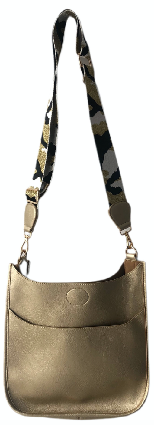 Gold Vegan Messenger Bag with Strap