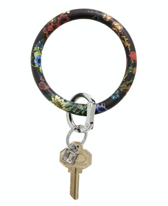 black flOral leather key ring