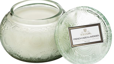 FRENCH CADE & LAVENDER EMBOSSED JAR