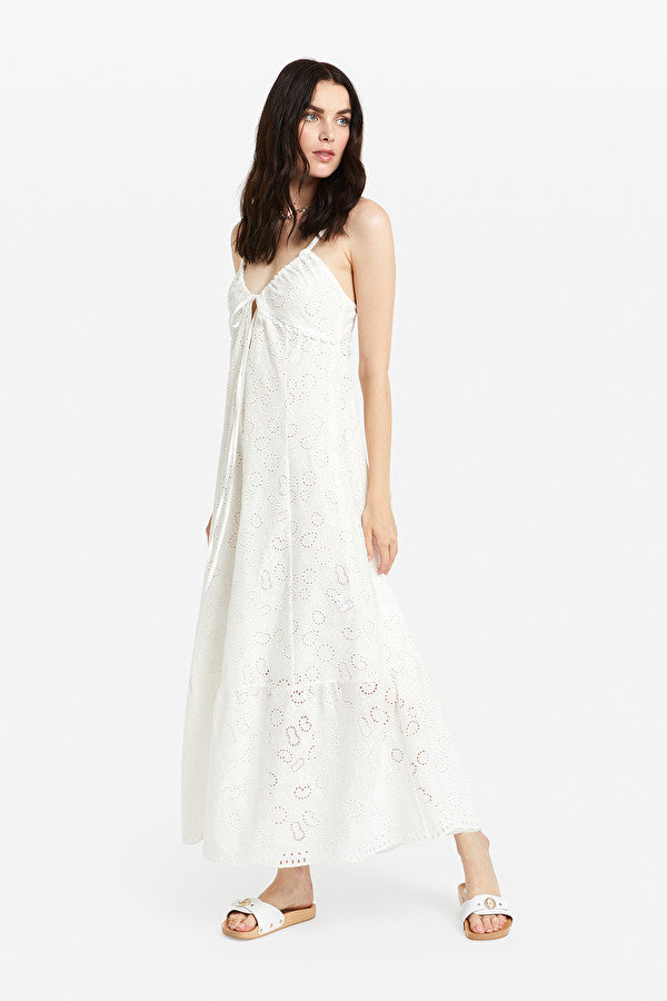 Long Dress With Broderie Anglaise