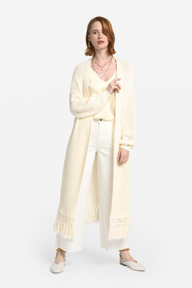 Recycled cotton long cardigan