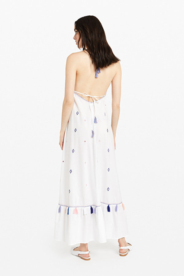 Cotton Long Dress With Appliques and Tassels