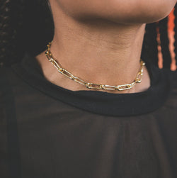 Vivienne Safety Pin Choker Necklace - Gold