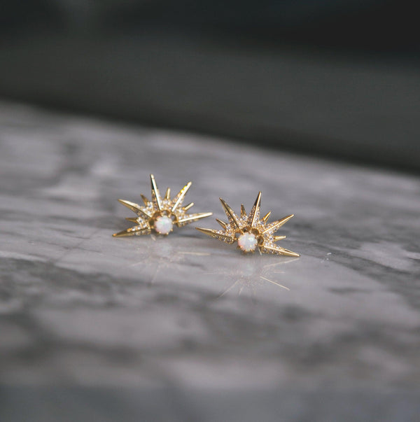 Alaska Opal Spike Stud Earrings - Gold